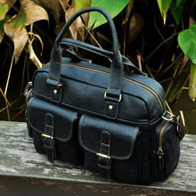 Load image into Gallery viewer, Deluxe Leather Large Capacity Messenger & Travel Bag Blue Premium Leather