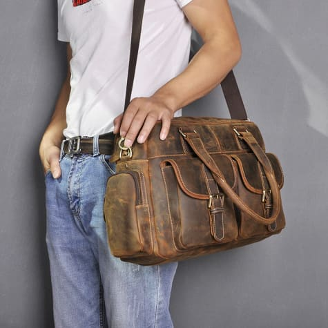 Deluxe Leather Large Capacity Messenger & Travel Bag Natural Brown Premium Leather