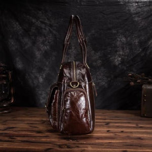 Deluxe Leather Large Capacity Messenger & Travel Bag Premium Leather