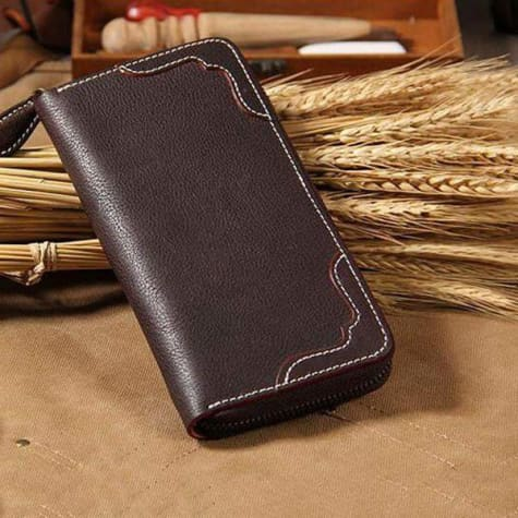 Designer Leather Long Zipper Wallet /clutch Coffee Premium Leather