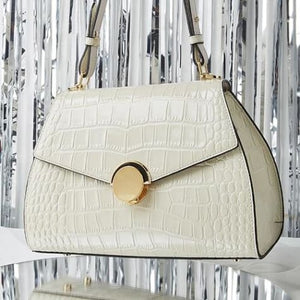 Domina Leather Handbag/leather Shoulder and Crossbody Bag Qw5328 White Premium Leather