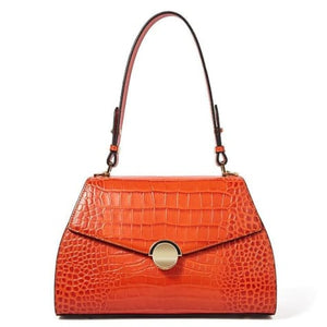 Domina Leather Handbag/leather Shoulder and Crossbody Bag Qw5328orange Premium Leather