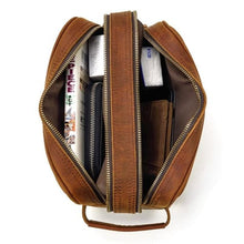 Load image into Gallery viewer, Double Zip top Saddle Leather Clutch Purse Brown Premium Leather