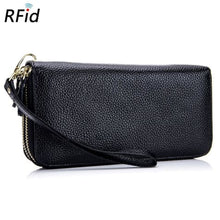Load image into Gallery viewer, Double Zipper Authentic Leather Deluxe Wristlet/wallet Premium Leather
