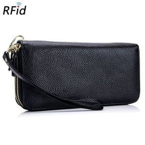 Double Zipper Authentic Leather Deluxe Wristlet/wallet Premium Leather