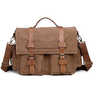 Dslr Camera Messagère Canvas Shoulder Bag Khaki Premium Leather