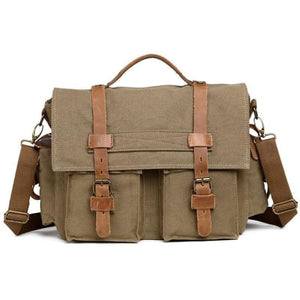 Dslr Camera Messagère Canvas Shoulder Bag Army Green Premium Leather