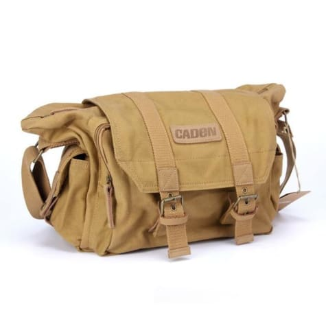 Dslr Canvas Camera Bag and Backpack for Canon Nikon Sony Pentax Khaki Premium Leather