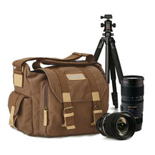 Load image into Gallery viewer, Dslr Canvas Camera Bag and Backpack for Canon Nikon Sony Pentax Coffee Premium Leather