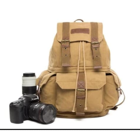 Durable Waxed Canvas Camera Backpack & Dslr Bag Premium Leather