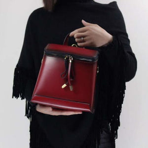 Elegant Leather Crossbody Bag Purse & Backpack Red Premium Leather