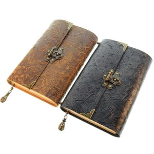 Embossed Soft Leather Diary Notebook with Lock and Key Premium Leather