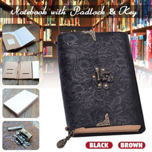 Load image into Gallery viewer, Embossed Soft Leather Diary Notebook with Lock and Key Black Premium Leather