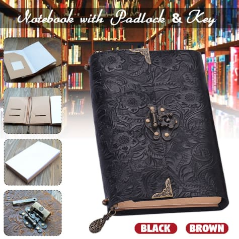 Embossed Soft Leather Diary Notebook with Lock and Key Black Premium Leather