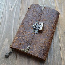 Load image into Gallery viewer, Embossed Soft Leather Diary Notebook with Lock and Key Brown Premium Leather