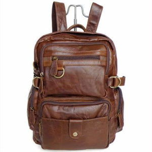 Eplesima' Authentic Leather Backpack Purse and Travel Bag Brown Premium Leather