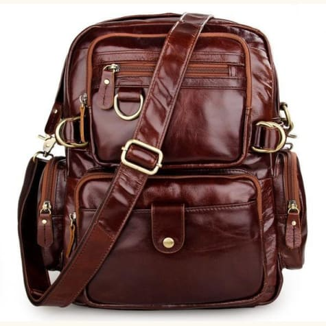Eplesima' Authentic Leather Backpack Purse and Travel Bag Red Premium Leather