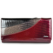 Load image into Gallery viewer, Evening Designer Leather Wallet and Clutch Purse Wine Red Premium Leather