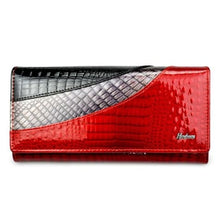 Load image into Gallery viewer, Evening Designer Leather Wallet and Clutch Purse Red Premium Leather