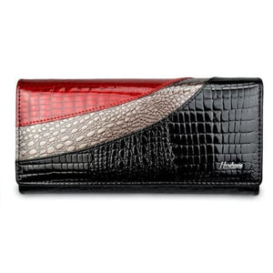 Evening Designer Leather Wallet and Clutch Purse Black Premium Leather