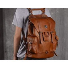 Load image into Gallery viewer, Everday Leather Backpack/laptop Bag / School Backpack