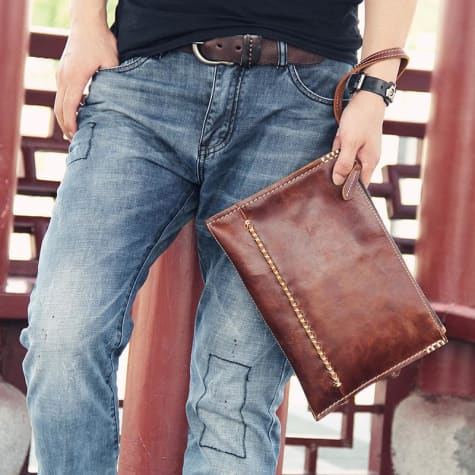 Exquisite Leather Handcrafted Wrist Bag Clutch Brown Premium Leather