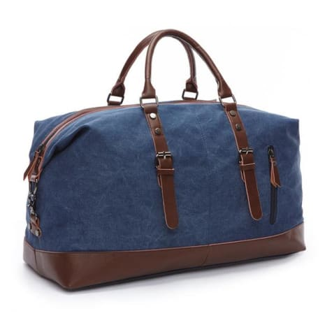 Fashion Canvas Leather Travel Bag/carry on Luggage Blue Premium Leather