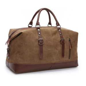 Fashion Canvas Leather Travel Bag/carry on Luggage Coffee Premium Leather