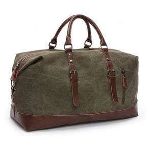Fashion Canvas Leather Travel Bag/carry on Luggage Green Premium Leather