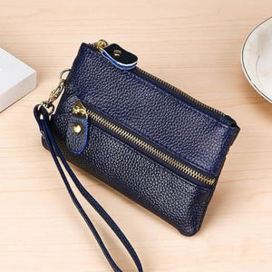 Fashion Vintage Authentic Leather Wrist Wallet Key Holder Housekeeper Clutch Blue Premium Leather