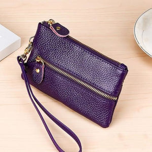 Fashion Vintage Authentic Leather Wrist Wallet Key Holder Housekeeper Clutch Purple Premium Leather