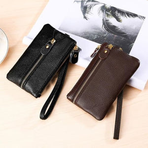 Fashion Vintage Authentic Leather Wrist Wallet Key Holder Housekeeper Clutch Premium Leather
