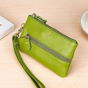 Fashion Vintage Authentic Leather Wrist Wallet Key Holder Housekeeper Clutch Green Premium Leather