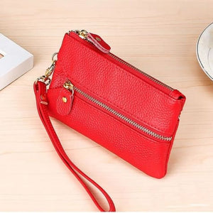 Fashion Vintage Authentic Leather Wrist Wallet Key Holder Housekeeper Clutch Red Premium Leather