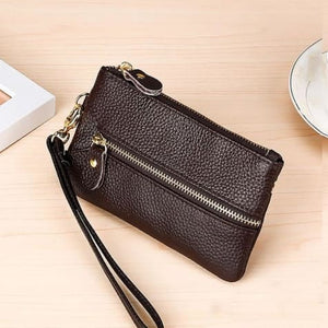 Fashion Vintage Authentic Leather Wrist Wallet Key Holder Housekeeper Clutch Brown Premium Leather