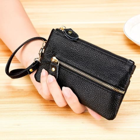 Fashion Vintage Authentic Leather Wrist Wallet Key Holder Housekeeper Clutch Black Premium Leather