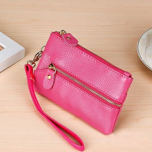 Fashion Vintage Authentic Leather Wrist Wallet Key Holder Housekeeper Clutch Pink Premium Leather