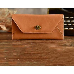 Fashionable Leather Clutch/handbag/wristlet in 2 Colors Brown Premium Leather