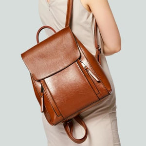 Feminine Oil Wax Leather Backpack Shoulder Bag Rucksack Premium Leather
