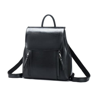 Feminine Oil Wax Leather Backpack Shoulder Bag Rucksack Black Premium Leather