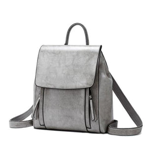 Feminine Oil Wax Leather Backpack Shoulder Bag Rucksack Grey Premium Leather