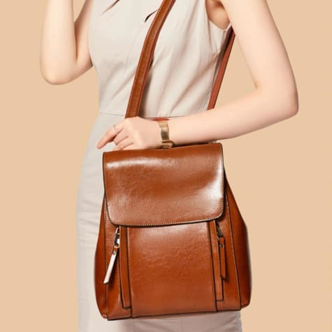 Feminine Oil Wax Leather Backpack Shoulder Bag Rucksack Brown Premium Leather