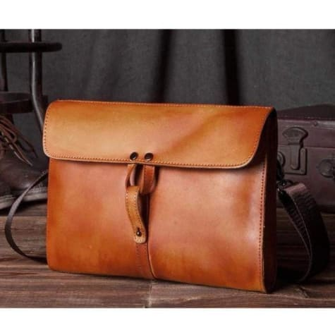 Fine Handmade Leather Clutch/crossbody & Shoulder Bag Tan Brown Premium Leather