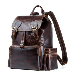 Fire Polished Authentic Steer Hide Leather Backpack Premium Leather