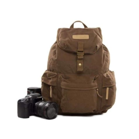 Four Pocket Waxed Canvas Dslr Camera Bag & Backpack Premium Leather