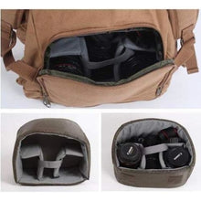 Load image into Gallery viewer, Four Pocket Waxed Canvas Dslr Camera Bag & Backpack Premium Leather