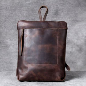Full Grain Leather Anti Theft Backpack 14in Laptop Double Shoulder Bag Deep Coffee Premium Leather