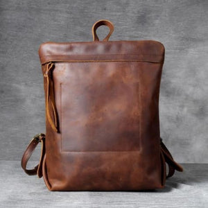 Full Grain Leather Anti Theft Backpack 14in Laptop Double Shoulder Bag Dark Brown Premium Leather