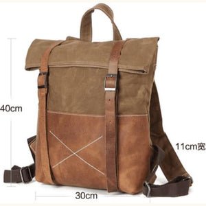 Full Grain Leather Canvas Backpack