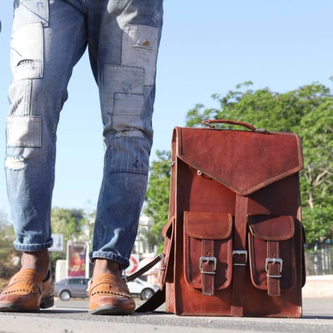 Full Grain Leather Dual use Backpack Briefcase